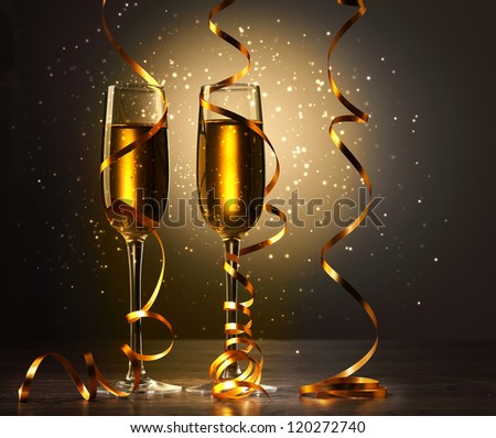 Two champagne glasses ready to bring in the New Year #120272740
