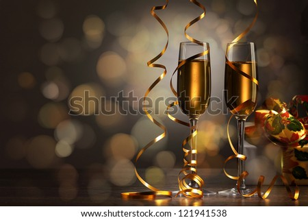 Two champagne glasses ready to bring in the New Year #121941538