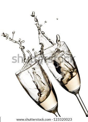 Two champagne glasses up - stock photo