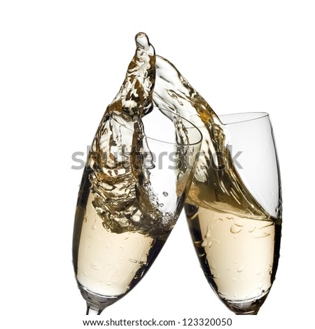 Two champagne glasses up, close up - stock photo