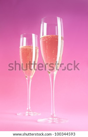 Two champagne or cider glasses