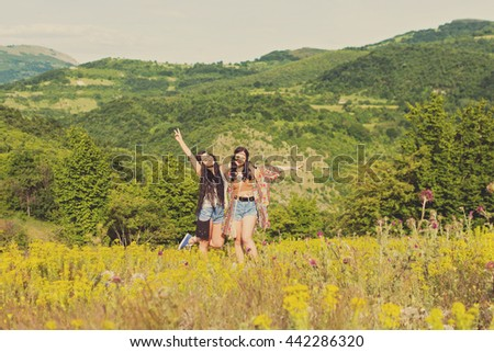Royalty free stock photos and images two cheerful boho for Cheerful nature