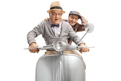 Two cheerful senior men riding a scooter isolated on white background