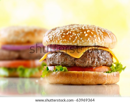 two cheeseburgers with selective focus on the foreground burger #63969364