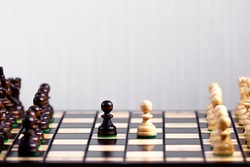 Two Chess Pawn Standing next to each other, The first step of the game, Making Decision and Take a Strategy, Victory in a Chess Game, Hobby that Stimulates Brain Activity, Copy Space