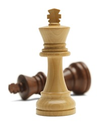 Two Chess Pieces in Battle Isolated on White Background.