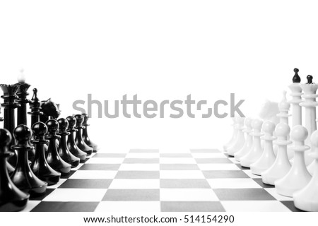 Two chess teams one in front of other on the chessboard. Isolated over white background