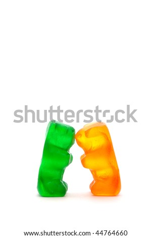 Two chewy candy bears kissing