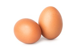 two chicken egg isolate on white background