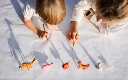 Two children - an adult girl and a little boy - are drawn in pencil around contrasting shadows from figures of toy animals. ideas for developing creative thinking, playing at home