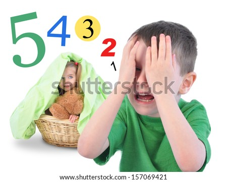 Two children are playing Hide and Go Seek on a white isolated background. There are math numbers for a countdown. The kids are happy.