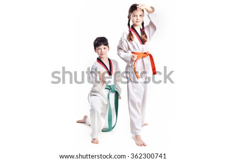 Two children athletes martial art taekwondo training #362300741