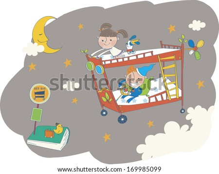 Two children flying their bunk beds through space.