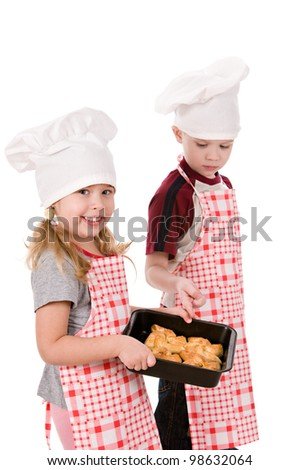 two children in the chef's hat isolated on white background