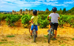 two children looking at beautiful castle of Carcassonne in France
