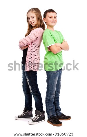 Two children standing back to back