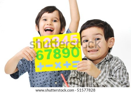 Two children with numbers