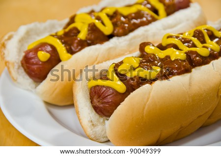 Two Chili Dogs on a White Plate