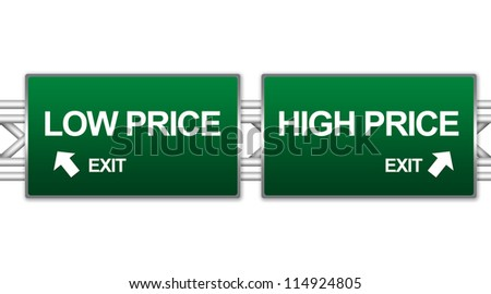 Two Choices Of Green Highway Street Sign Between High Price And Low Price Sign For Business Concept Isolate on White Background