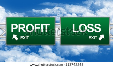 Two Choices Of Green Highway Street Sign Between Profit And Loss Sign For Business Direction Concept Isolate on White Background