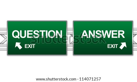 Two Choices Of Green Highway Street Sign Between Question And Answer Sign For Business Direction Concept Isolate on White Background