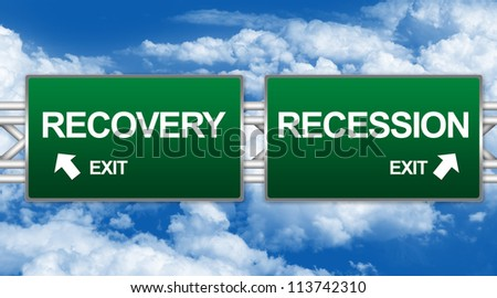 Two Choices Of Green Highway Street Sign Between Recovery And Recession Sign For Business Direction Concept Against A Blue Sky Background