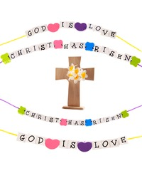 Two Christian messages spelled out in square beads on colorful strings and a wooden cross with daffodils.  Isolated on white.