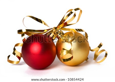Two Christmas baubles with gold ribbon bow