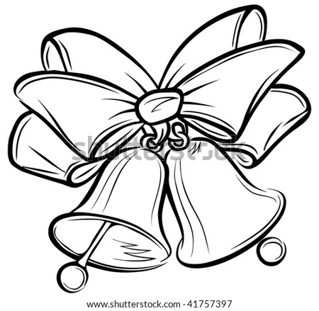 Two Christmas bells and ribbon. Freehand drawing. Raster version of ...