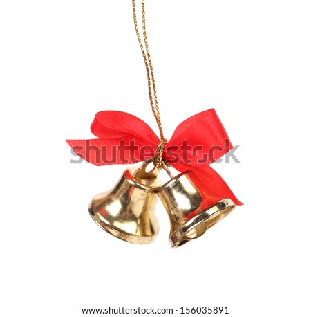 Two christmas bells with red ribbon. Isolated on a white background.