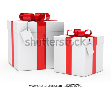two christmas gift box with red ribbon