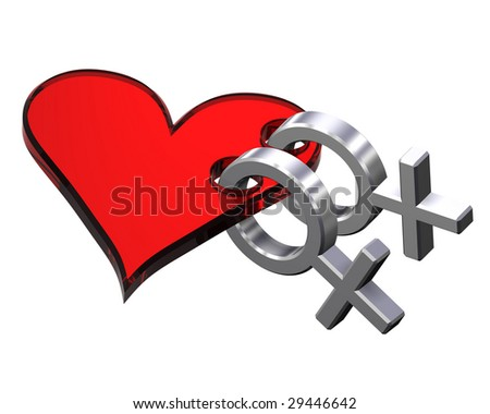 ... Two chrome female sex symbol with red heart. Computer generated 3D photo