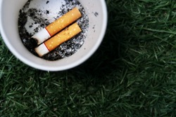 Two cigarette butt/end and their ashes, at the buttom of the white paper cup. Concept of failure to quit smoking