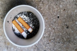 Two cigarette butts and their ashes at the bottom of white paper cup, with hard floor background. Concept of smoking addiction, smoking area