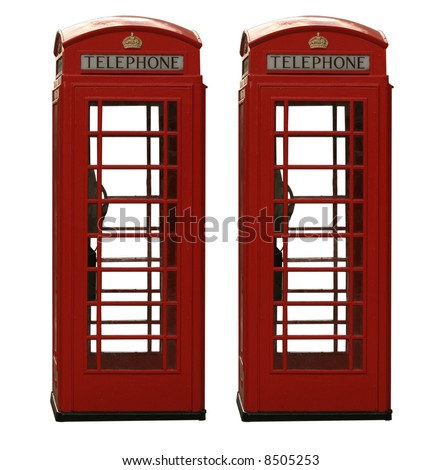 Two classic red British telephone box, isolated on a white background