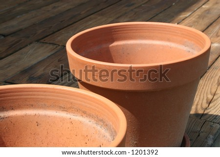 Two clay flower pots