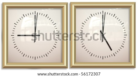 two clocks showing nine to five office hours