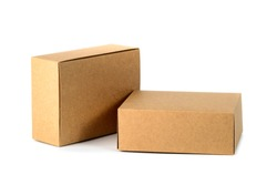 Two closed cardboard Box or brown paper package box isolated with soft shadow on White background