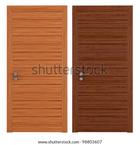 two  closed doors in two different woods isolated on white - rendering