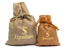 Two cloth sacks with the imprint Expenditure, Revenue,  with dollar signs