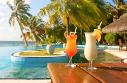 Two cocktails on  luxury tropical vacation