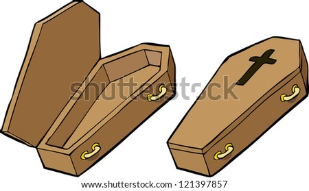 Two coffins on a white background raster version