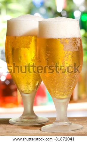 two cold glasses of beer