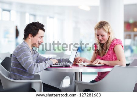 Two college students having fun studying together, using a laptop computer on campus, between classes (shallow DOF, color toned image)