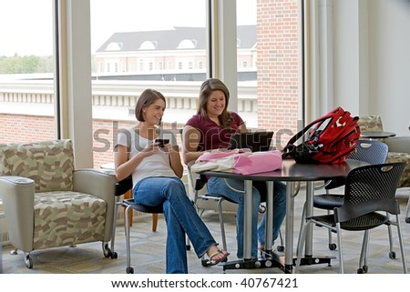 Two College Students Studying