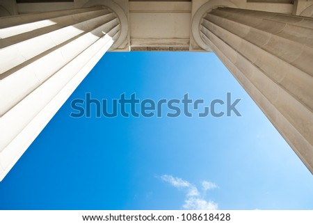 Two colomns seen from below on a blue sky Stockfoto ©