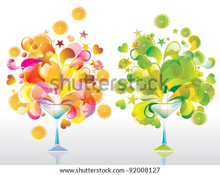 Two Color cocktail with great splash, orange and lime