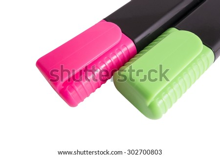Two color markers. Isolated on white background