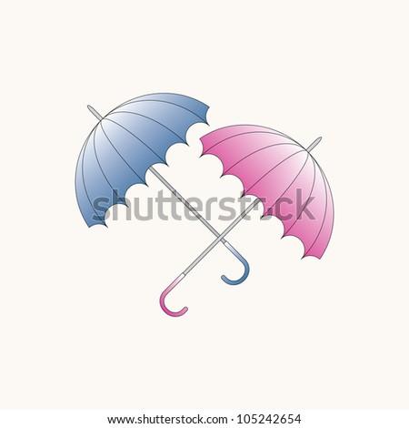 Two color umbrellas - stock photo