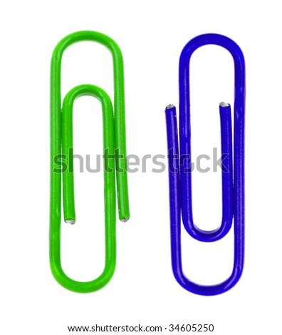 Two colored paper clips isolated on white background
